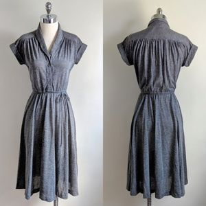 vintage 70's gray jersey knit pleated shirt dress